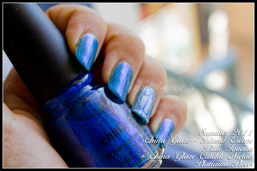 China Glaze Blue Iguana Island Escape Summer 2011 + Platinum Pieces Crackle Metals