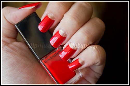Givenchy : Vernis Please ! n°177 Bucolic Poppy / Instant Bucolique Printemps 2012 + Half Moon Manicure