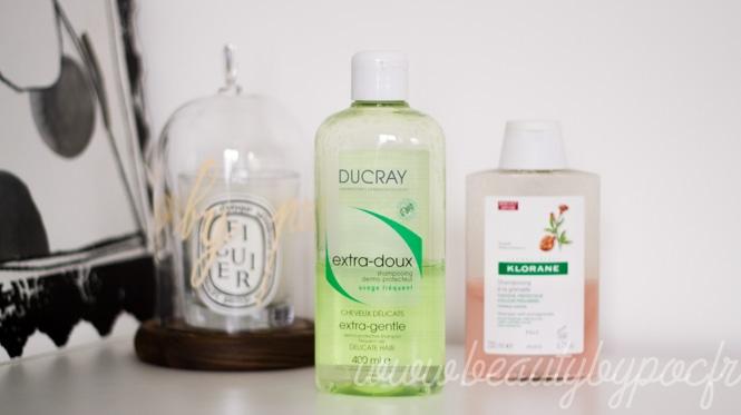 Mes deux shampooings favoris du moment : Shampooing à la grenade de Klorane et l'Extra-doux de Ducray