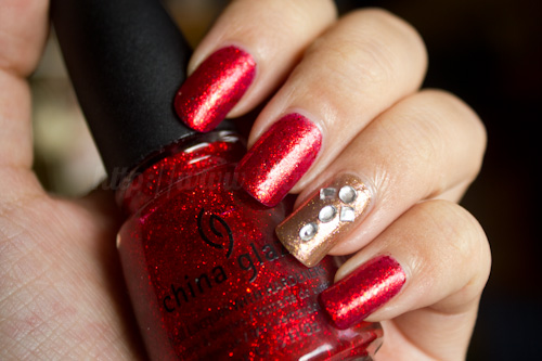 China Glaze Ring in the Red + Estée Lauder Nouveau Riche