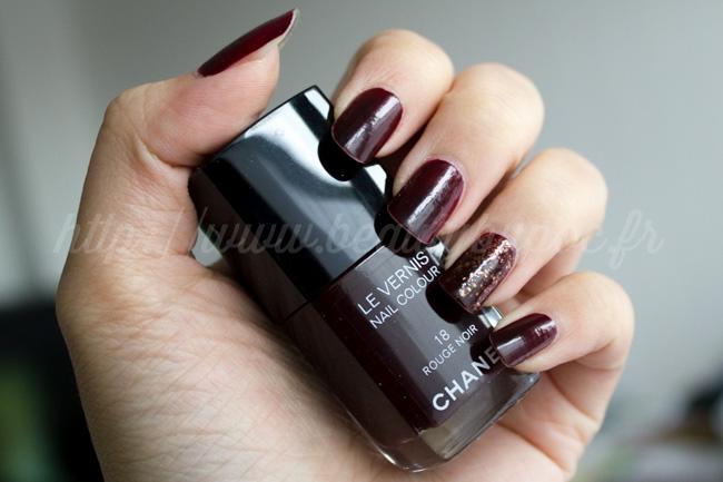 Trois Vernis CHANEL : #18 Rouge Noir, #757 Rose Fusion et le Top Coat Lamé Rouge Noir