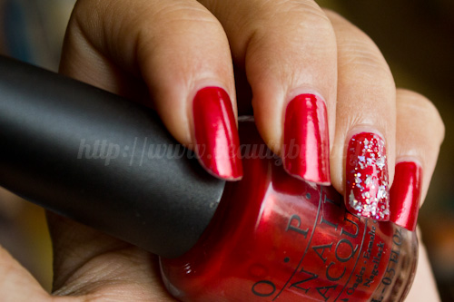 OPI : Danke-Shiny Red - Germany Collection + Nails Inc Burlington Arcade - Nail Jewellery