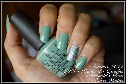 OPI Mermaid's Tears + Silver Shatter - Pirates of Caribbeans / Summer 2011